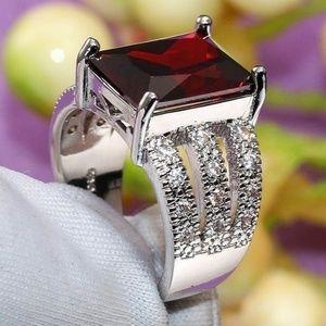 Jewelry - 8+ TCW Garnet ~ White Topaz ~ 925 STERLING SILVER